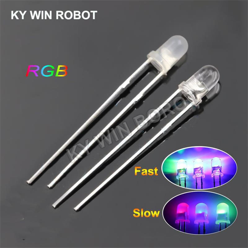 aliexpress.com - 50pcs/lot F3 3mm Fast/Slow RGB Flash Red Green Blue Rainbow Multi Color Light Emitting Diode Round LED Full Color DIY