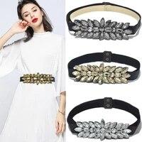2 5cm wide rhinestone belt ladies fashion dress wild crystal beads elastic waist seal for wedding party girdle bg 447