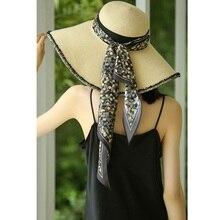 100% soie cou écharpe ruban mode impression tête cheveux chapeau foulards 140x20cm