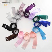 TOPQUEEN-cinturones de cinta de novia para mujer, cintas de satén de doble cara, color azul Tiffany, para vestidos y sillas de boda, S40