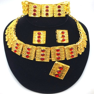 F&Y Red square Zircon High Quality Luxury Jewelry Dubai Gold color jewelry set Bridal Wedding African Beads Accessories Design