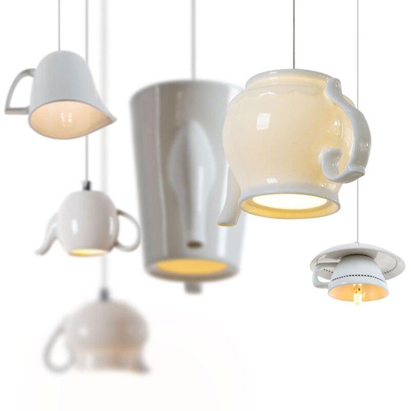 مصباح معلق Led من السيراميك مع إبريق شاي ، تصميم حديث ، إضاءة زخرفية داخلية ، مثالي للمطبخ أو غرفة الطعام أو البار أو المقهى.