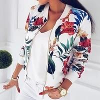 women floral jackets spring summer long sleeve zipper print bomber jacket casual pocket slim female fashion outwears plus size