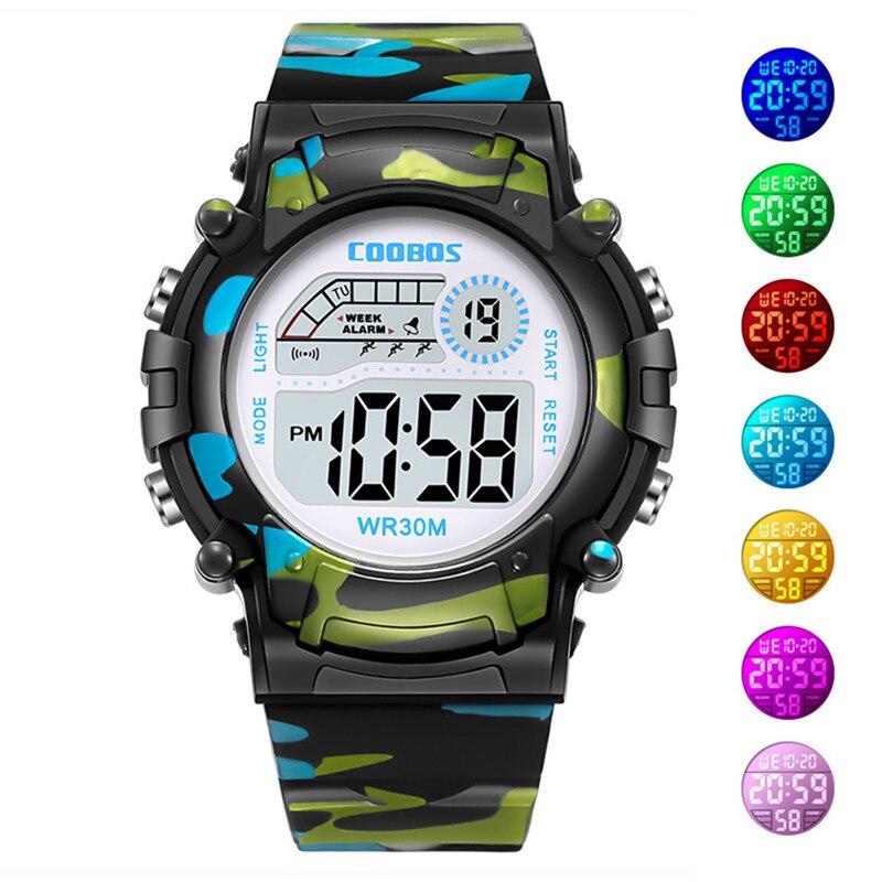 Relojes de camuflaje para niños, reloj Led Digital, reloj de pulsera para niños, niñas, estudiantes, reloj impermeable, regalo deportivo, Relojes verde militar