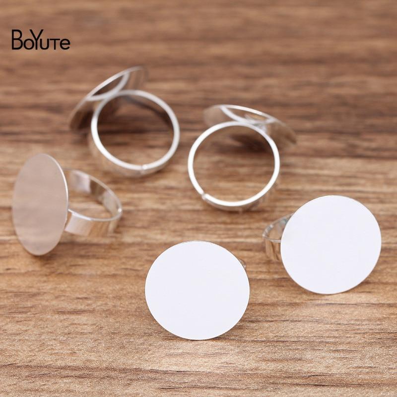 BoYuTe (20 Pieces/Lot) Metal Brass 20MM Flat Ring Base Adjustable Ring Settings Diy Handmade Jewelry Accessories