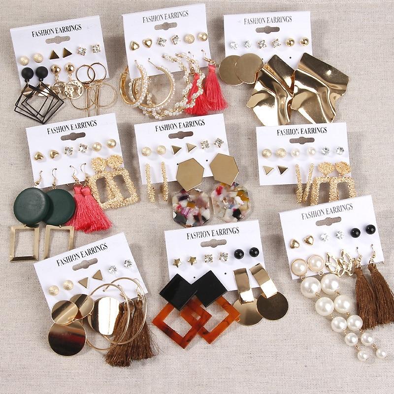 Exknl Women Earrings Set Acrylic Pearl For Bohemian Leopard Tassel Stud 2020 New Brincos Fashion Jewelry