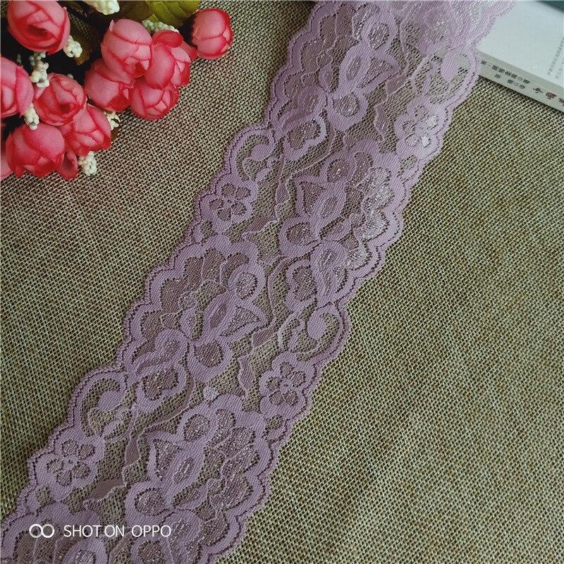 8,3 cm S1960 Anti-estática púrpura Pakistani Nylon Spandex stretch Jacquard lace trimmings para la ropa africana tradicional