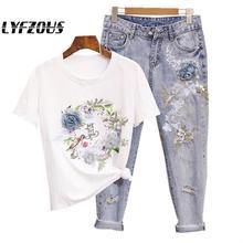 Vrouwen Denim Tweedelige Set Heavy Kralen Embroideried 3d Bloem Gedrukt Katoen T-shirts + Ripped Jeans 2 Stuks Kleding Sets suits