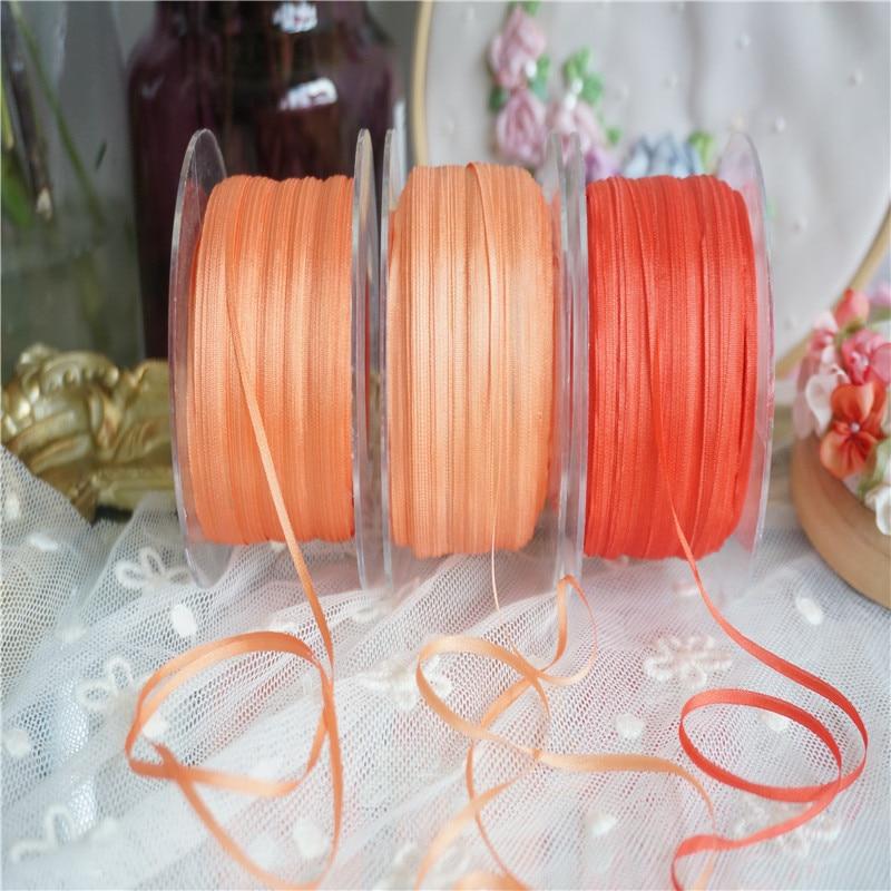 Nuevo color 2mm Colores Sólidos de 100% cinta bordada de seda pura tafetán fino cinta de seda de alta calidad