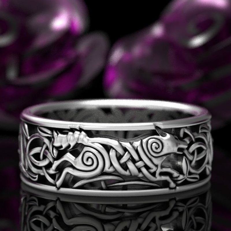 Exquisite Europa Piraat Wolf Man Viking Ringen Mannen Vrouwen Keltische Ringen Nordic Wedding Band Engagement Ring Sieraden