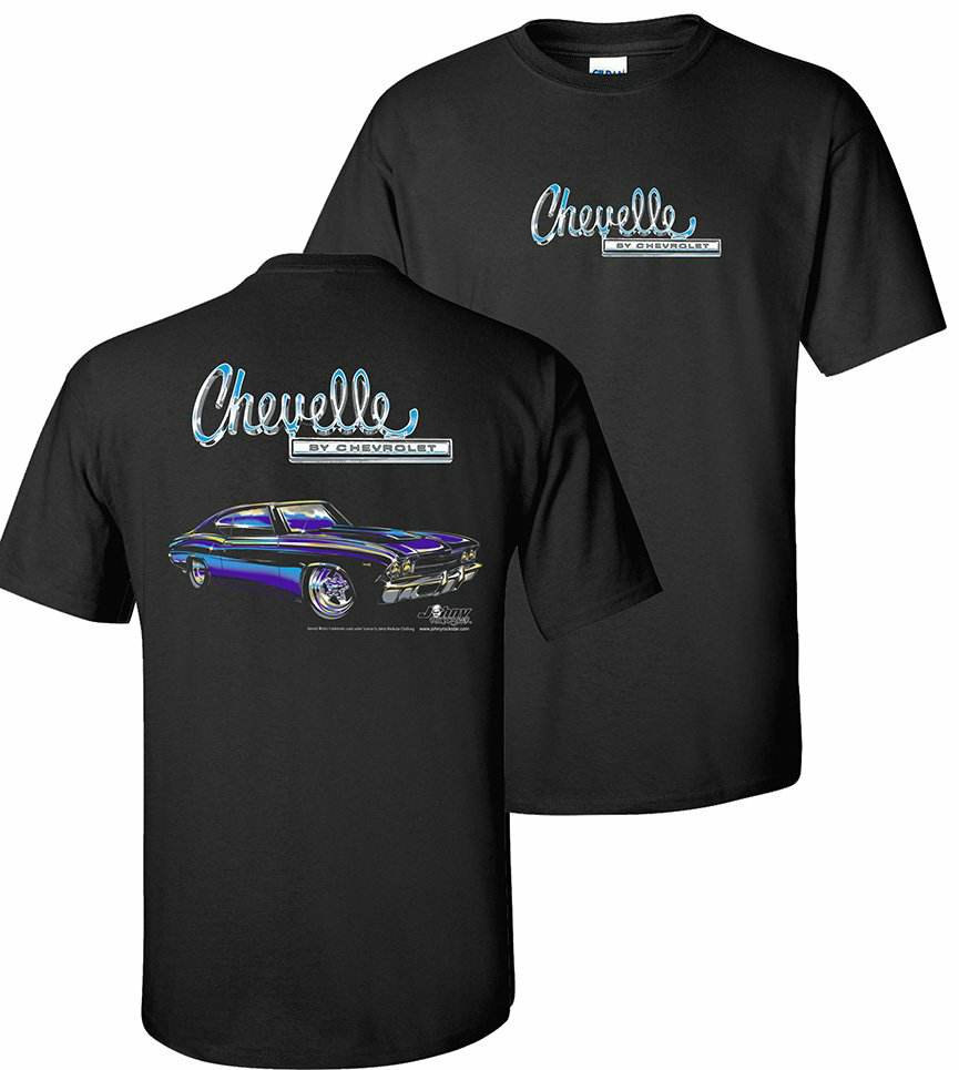 Camiseta Chevelle negra W 1969 azul Chevy Car Chevelle de Chevrolet