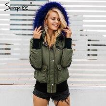 Simplee Hood padded parka winter jacket women coat Fur warm pocket zipper winter overcoat Snow wear thick jacket coat female
