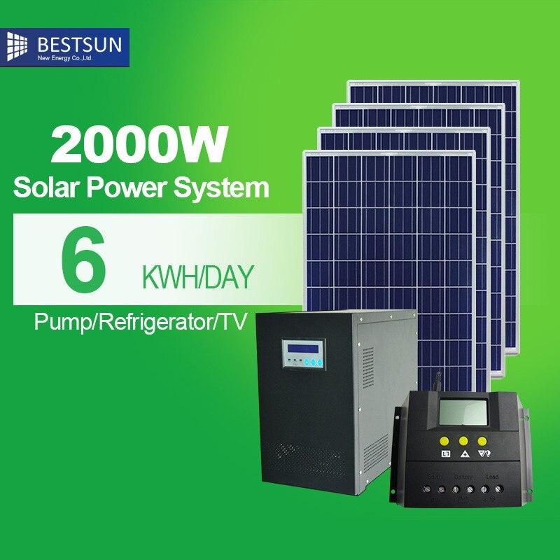 BESTSUN-نظام طاقة شمسية متصل بالشبكة ، 2000 واط ، للفنادق ، بما في ذلك الألواح الشمسية ، عاكس ربط الشبكة ، كابل PV