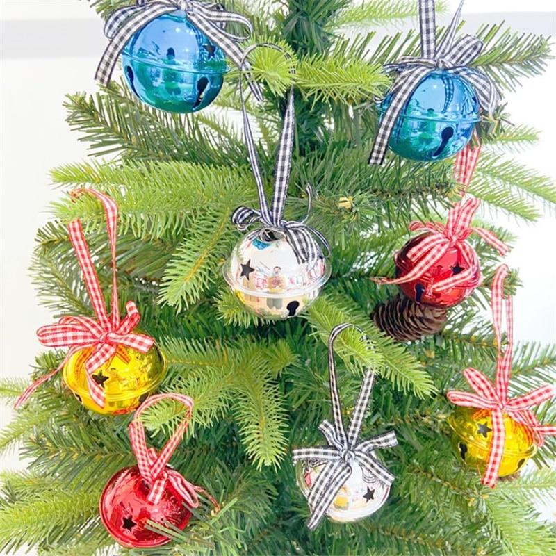 2pcs/set Jingle Bells Iron Pendants Hanging Christmas Tree Ornaments Christmas Decorations Party DIY Crafts Accessories 50pcs christmas jingle bells metal little bells decoration colorful mix color party diy beads christmas jewelry accessories