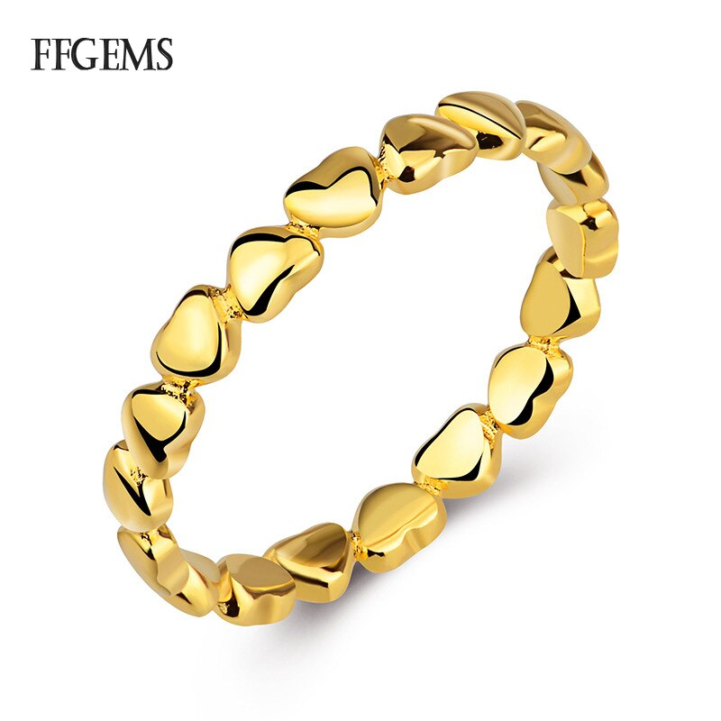 FFGems 2020 gran oferta Corazón de amor para siempre anillo de dedo rodio amarillo oro rosa joyería Original regalo FESTIVAL de Compras GLOBAL