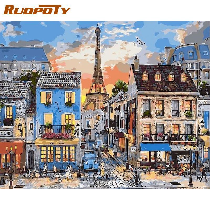 RUOPOTY 60x75cm Painting By Numbers Kits Diy Gift Towel Town Street Scenery Paints Acrylic Pigment On Cnavas Home Room Decors