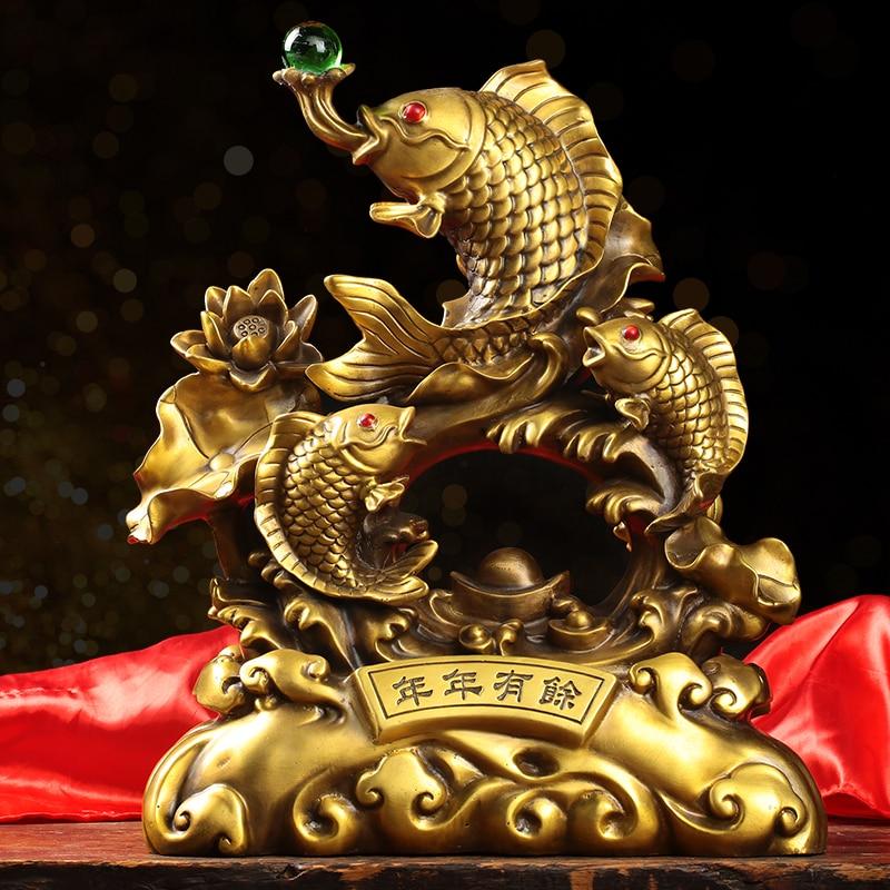 Estátua de Cobre Grande Ásia Empresa Escritório Deco Home Store Trazer Riqueza Dinheiro Boa Sorte Gilding Ouro Peixes Feng Shui Zhao Cai Art