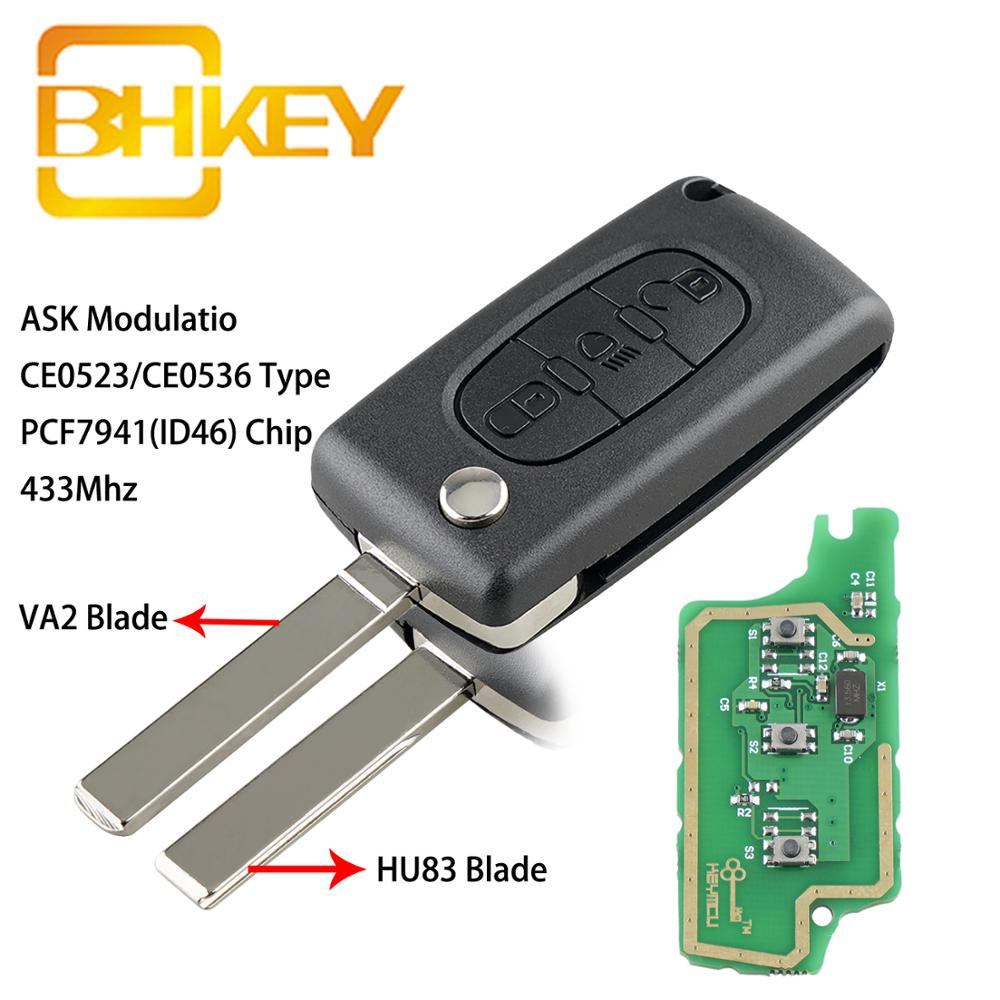 car key remote flip key shell case for peugeot 308 207 307 3008 5008 807 2 buttons auto key case for citroen c2 c3 c4 c5 c6 c8 BHKEY For Citroen Key 3 Buttons Flip Smart Car Key for Car For Citroen C2 C3 C4 C5 C6 C8 before 2011 Car Remote Keys
