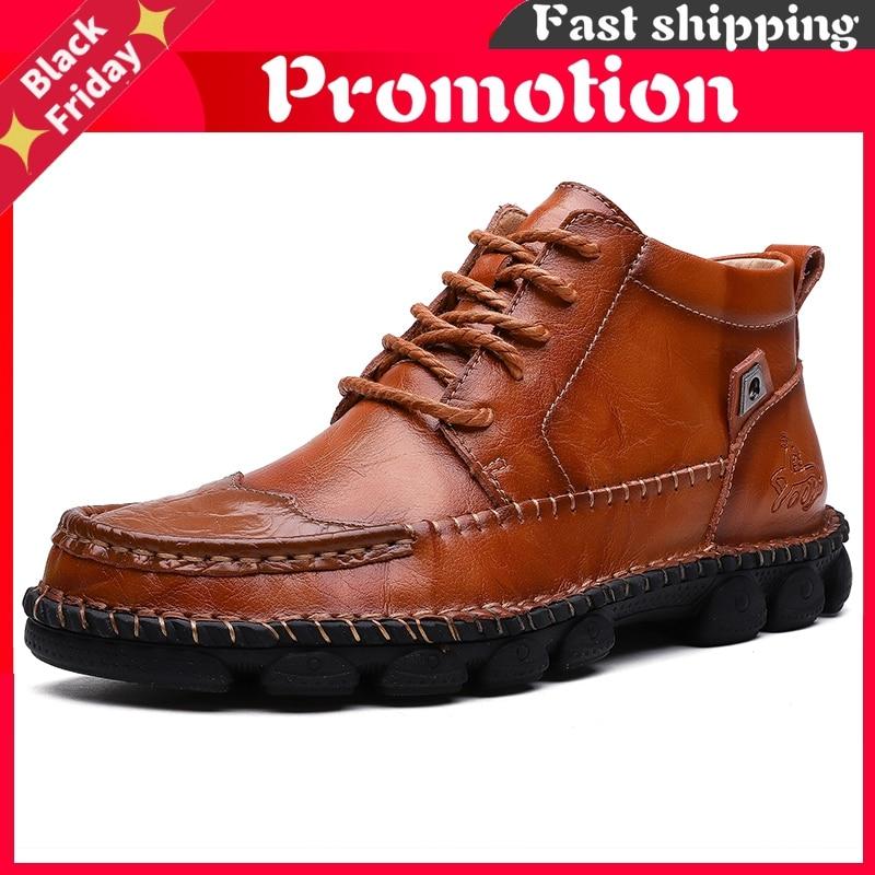 Botas de Tornozelo de Couro Masculinos de Alta Britânicas do Vintage Masculino Sapatos Qualidade Botas Militares Outono Inverno Tamanho Grande 38-48
