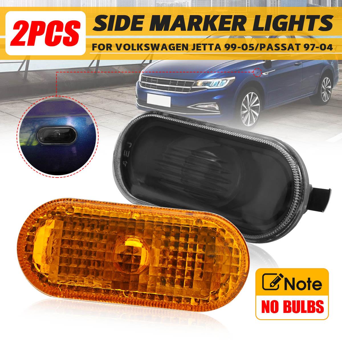 Lámpara de señal para coche, 2 uds., luces con indicador lateral ámbar para Volkswagen Golf Jetta MK4 1999-2005 para Passat B5/B5.5 1997 1998-2004 con Sin bombilla
