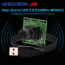 0.3mp 640*480P vga MJPEG 60fps Oem high speed usb 2.0 interface cmos ov7725 Camera module PCB Board with 26*26/32*32mm mini size