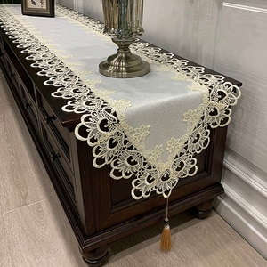 Proud Rose Lace Table Runner Tablecloth Korean Style Bed Runner Beige TV Cabinet Cover Towel Bed Flag Wedding Decoration
