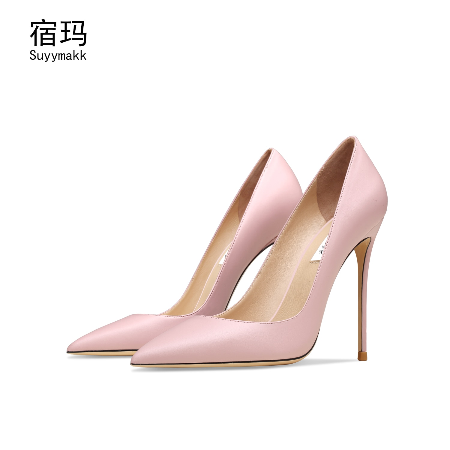 Genuine Leather Classic Pumps Women High Heels Sexy Wedding Shoes Stiletto Shoes Pointed Toe Large Lady Dress Shoes Size 6/10cm onlymaker women s pointed toe block classic 12cm high heels slip on thick shoes wedding office dress big size chunky lady pumps