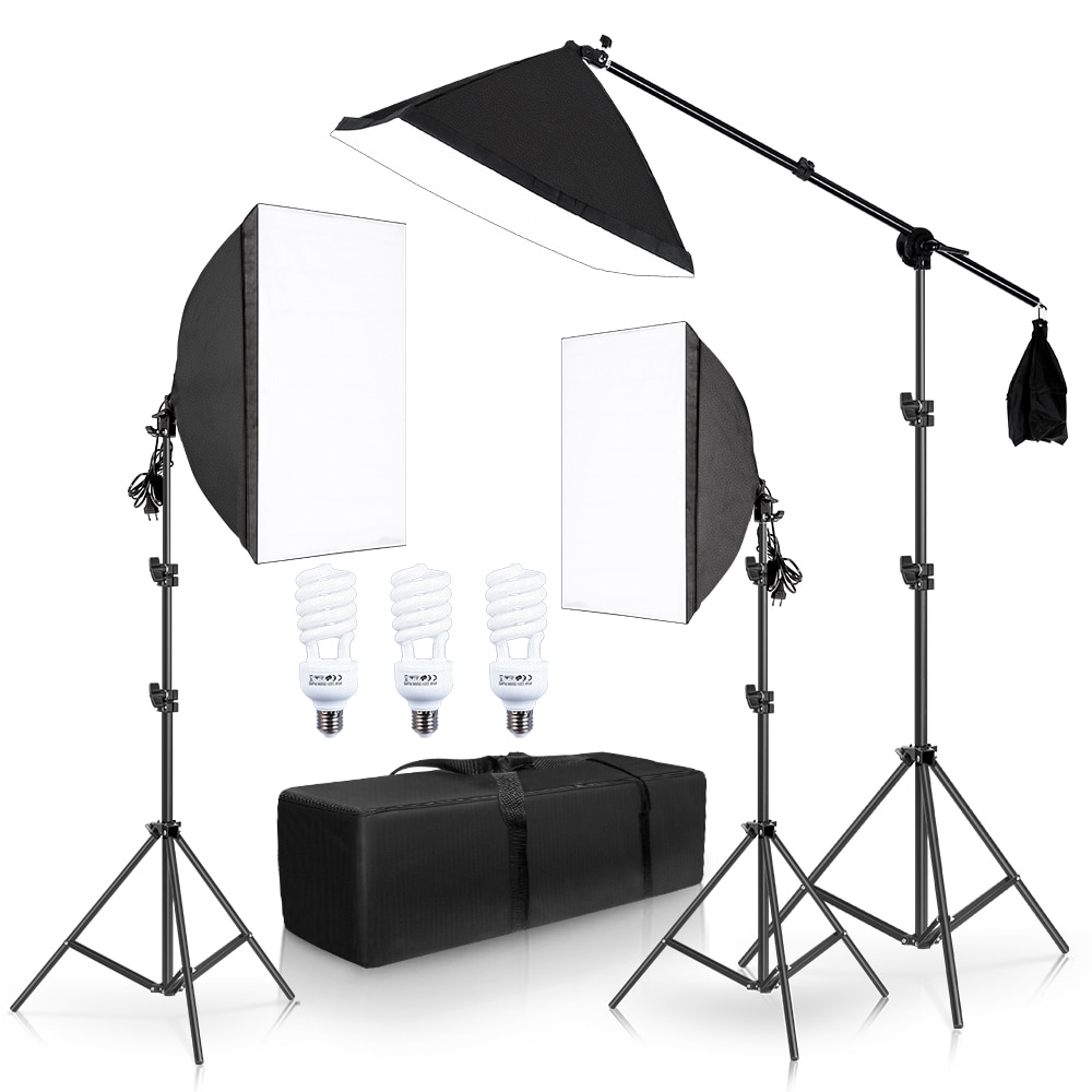 Photography Softbox Lighting Kit Continuous Lights 45W Photo Equipment Studio Accessories With Cantilever Frame Support System