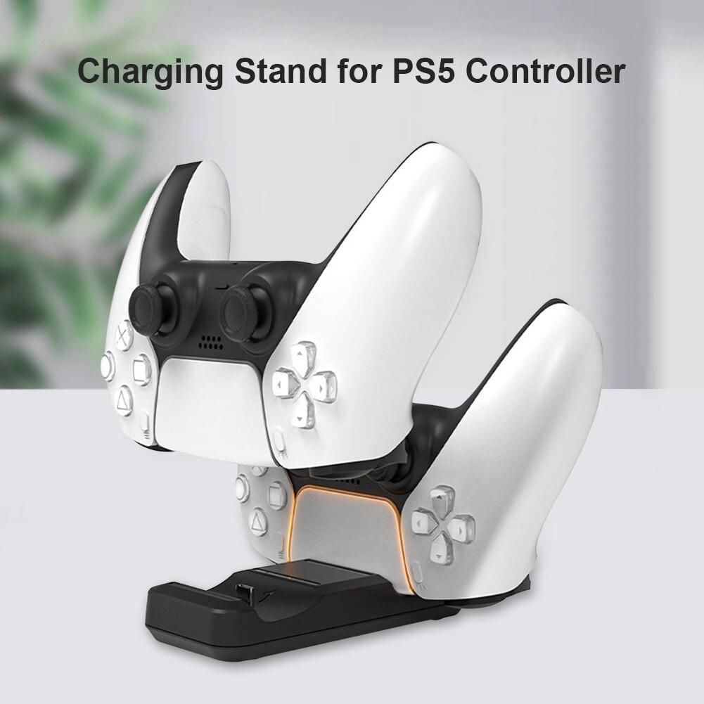 Беспроводное зарядное устройство для контроллера PS5 с двумя портами USB C, док-станция для быстрой зарядки, подставка для PlayStation 5, аксессуары д...