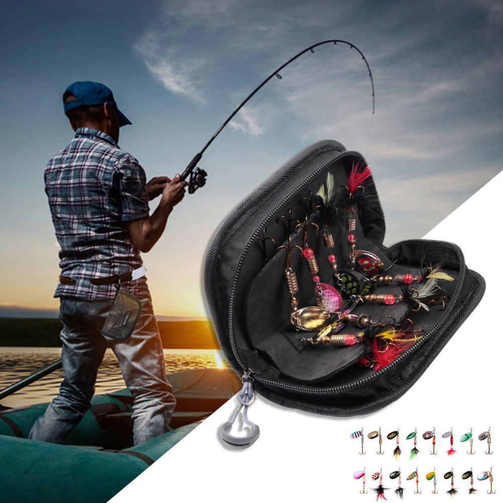 16Pcs Metal Artificial Fishing Spinner Baits Lures Kits with Rotating Sequins Fishing Spinner Baits Lures Kits with Rotating Seq