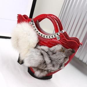 New  Women High-heeled Shoes Bag Fox Head Fur Bag  High-end Fur For Women's Banquet Casual Bag a6946