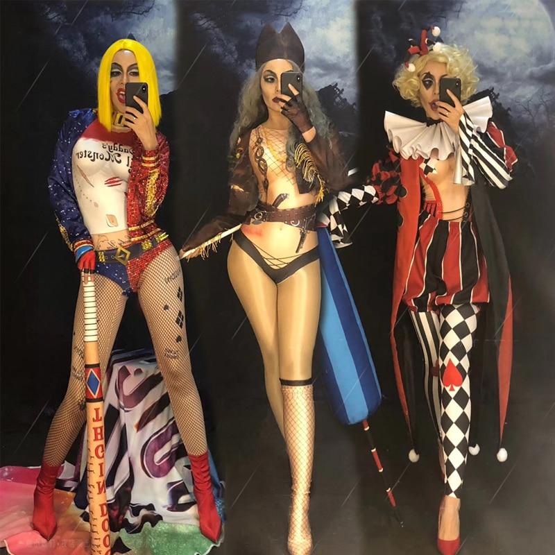 هالوين ازياء ملهى ليلي مرحلة الأداء ملابس رقص للرجال والنساء ارتداءها مهرجان الملابس الزي XS2686