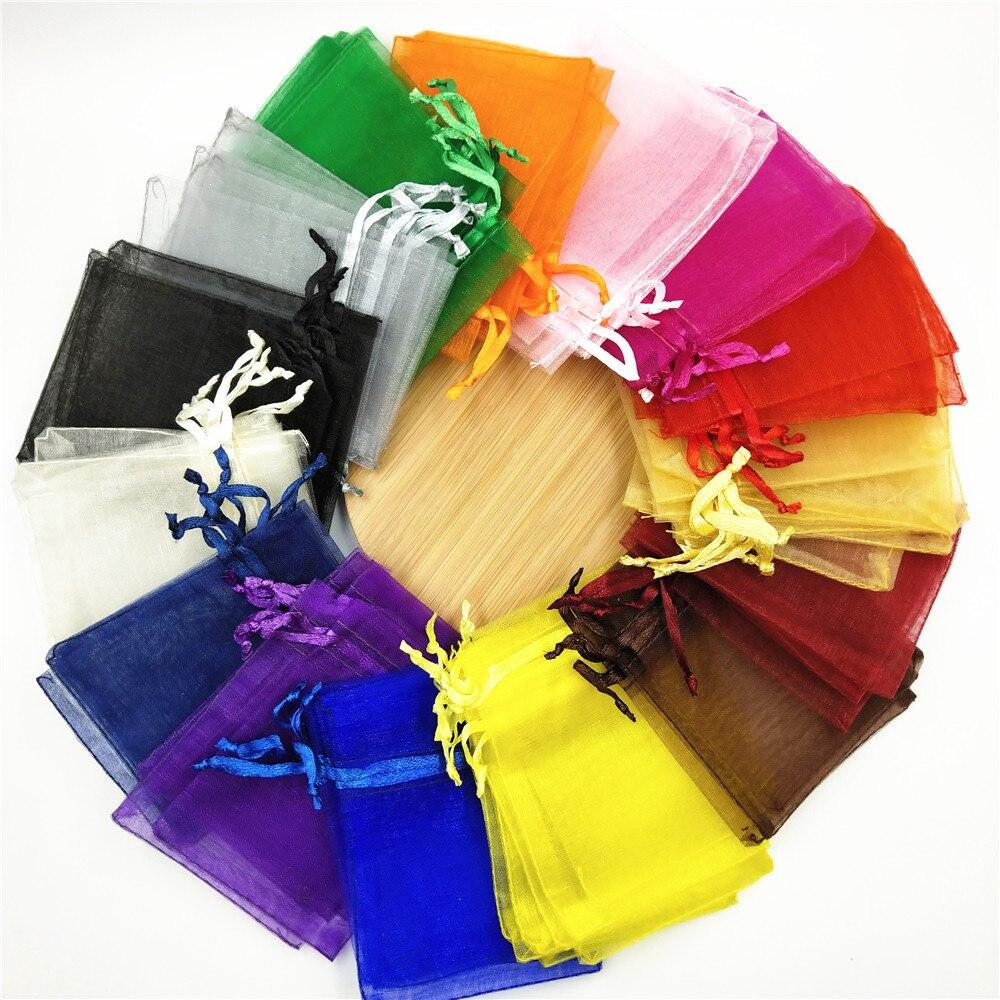 100 Sacos de Embalagem de Jóias 5 pçs/lote x 7cm 7x9cm 9x12cm Com Cordão Sacos de Organza Saco do Presente da Festa de Casamento Do Natal Sacos de Presente de Aniversário