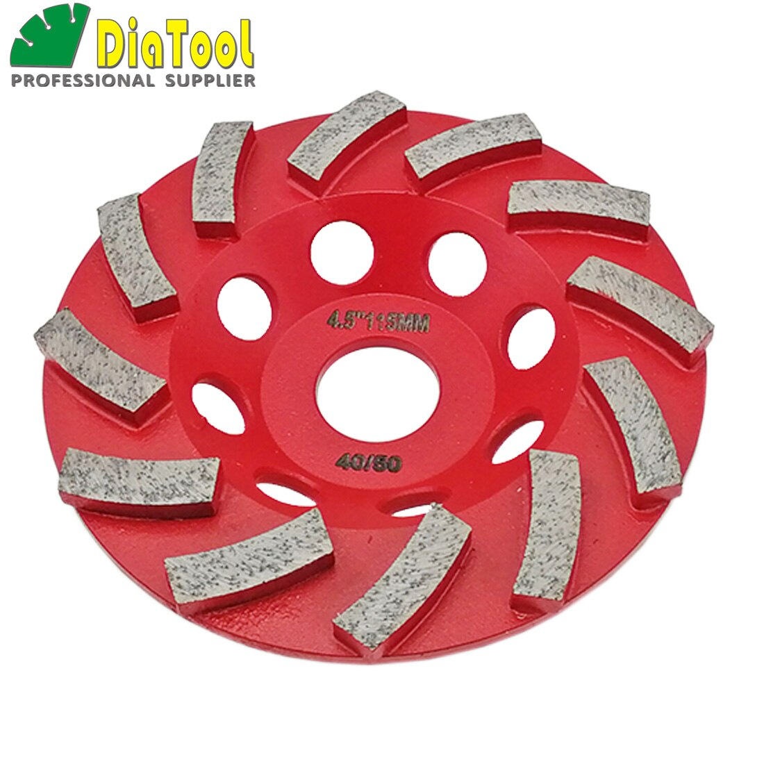 "SHDIATOOL 2pcs 4.5"" Segmented Diamond Turbo Grinding Cup Wheel for Concrete Arbor 7/8"" 115mm grinding disc"