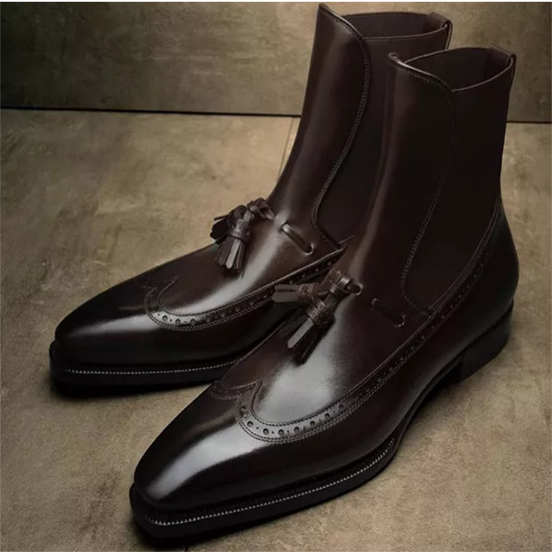 New Martin Boots High-top Leather Shoes Pointed Toe Leather Boots British Short Boots Men's Mid-cut