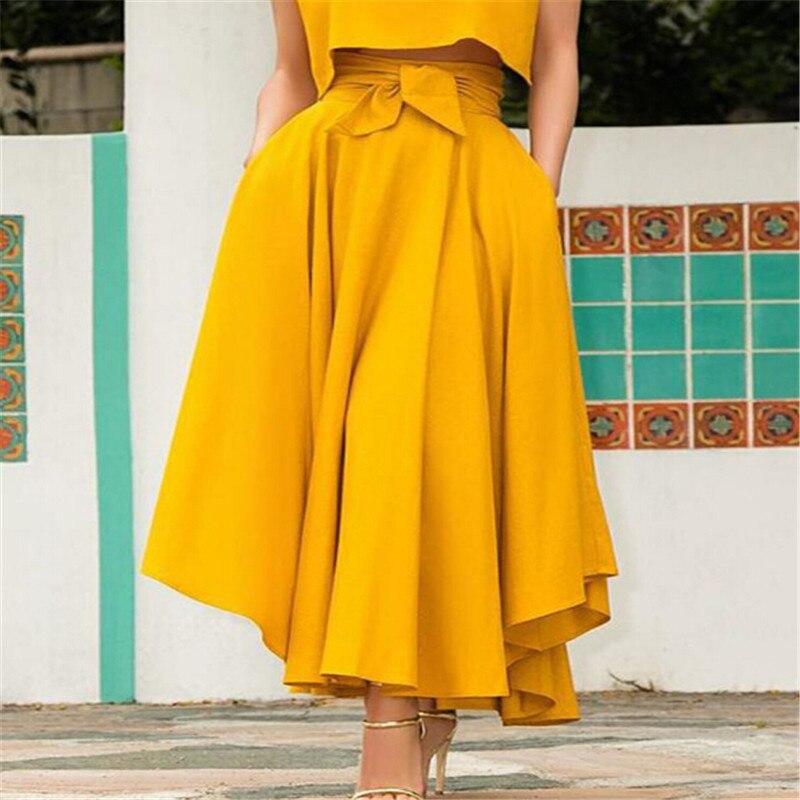 Faldas largas plisadas de vendaje liso de moda para mujeres de cóctel de cintura alta faldas de verano de línea A con bolsillo