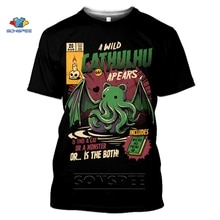 SONSPEE Cthulhu And Lovecraft Miskatonic T-Shirt For Men Call Of Cthulhu Tshirt Funny Crewneck Summer Top 3D Print T Shirt Women