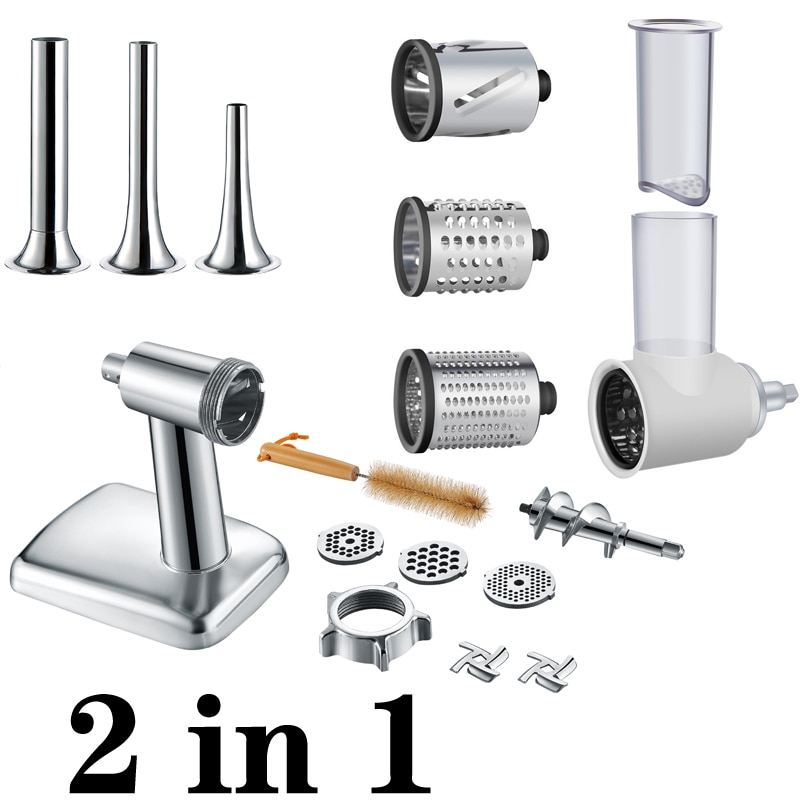 High quality and high value 2 in 1 for KitchenAid vertical mixer, accessories for vegetable mixing and meat processing