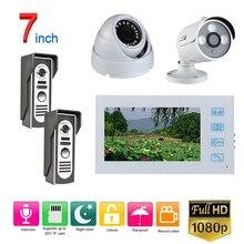 7 дюймов Проводной видео-телефон двери дверной звонок Домофон Системы с AHD 1080P Камера белый видео домофон Системы комплект