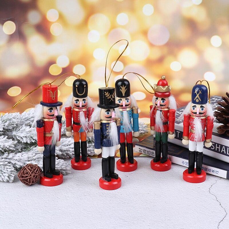 1 decoración de Navidad, 1 Uds., 13cm, marioneta de Cascanueces hecha en madera, adornos de escritorio de Navidad para Año Nuevo, soldado con dibujo de nueces