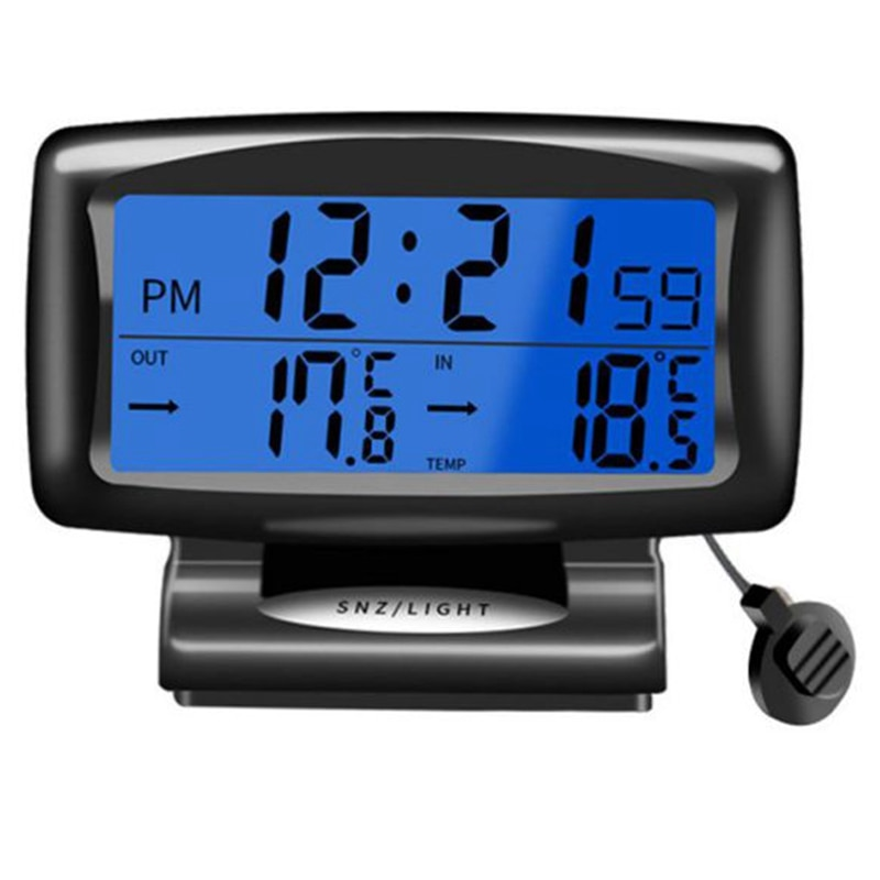 Car Led Thermometer Time Electronic Clock Watch Car Night Light Clock Temperature Display Car Interi