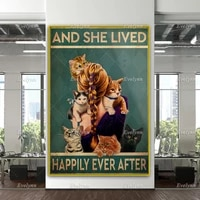 vintage girl loves cat poster and she lived happlily ever afterfunny cat home decor canvas wall art prints cat owner gifts