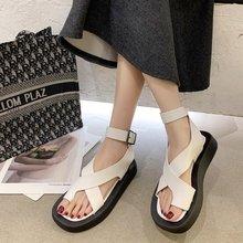 Buckle Strap  Casual  Solid  Fashion Flat Platform Ladies Female Shoes Summer Mujer Sandalias Plus Size 2020