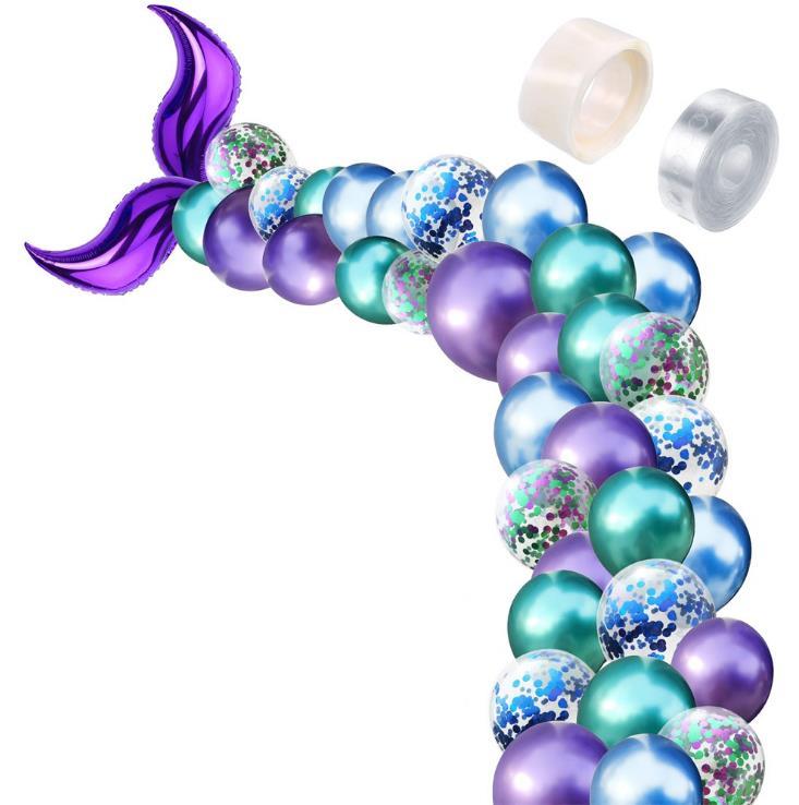 Juego de globos de cola de sirena bajo el mar tema decoración para fiesta de cumpleaños globo de guirnalda Kit de arco fotografía telón de fondo 2 Juego/lote
