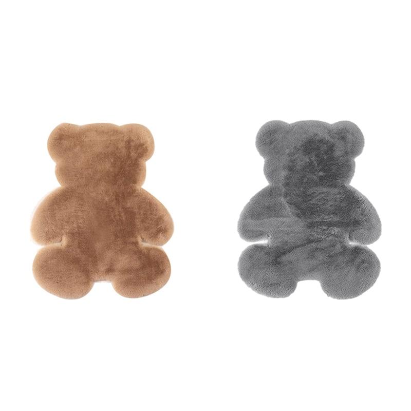 2 قطعة السجاد الدب سوبر سجاد حرير داخلي غرفة المعيشة الحديثة سجادة غرفة النوم عدم الانزلاق لينة 60 سنتيمتر x 80 سنتيمتر حصيرة البني والرمادي