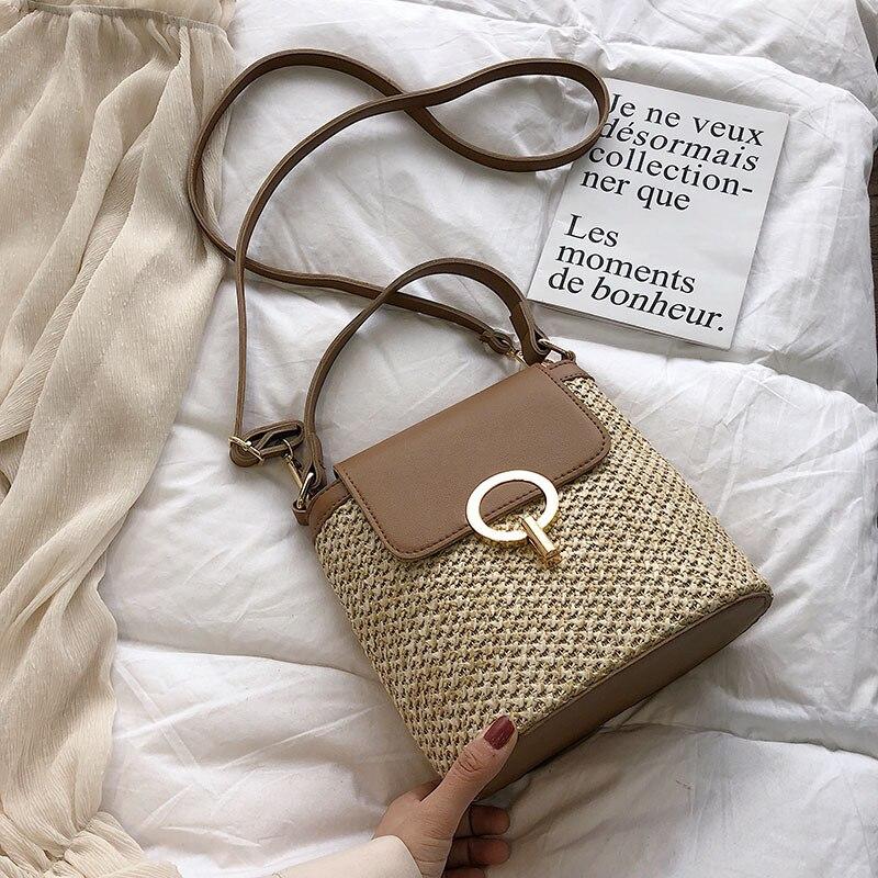 Bolso pequeño de paja de tendencia para mujer, bolsos cruzados de verano 2020, bolsos de viaje para señora, bolsos de hombro para mujer