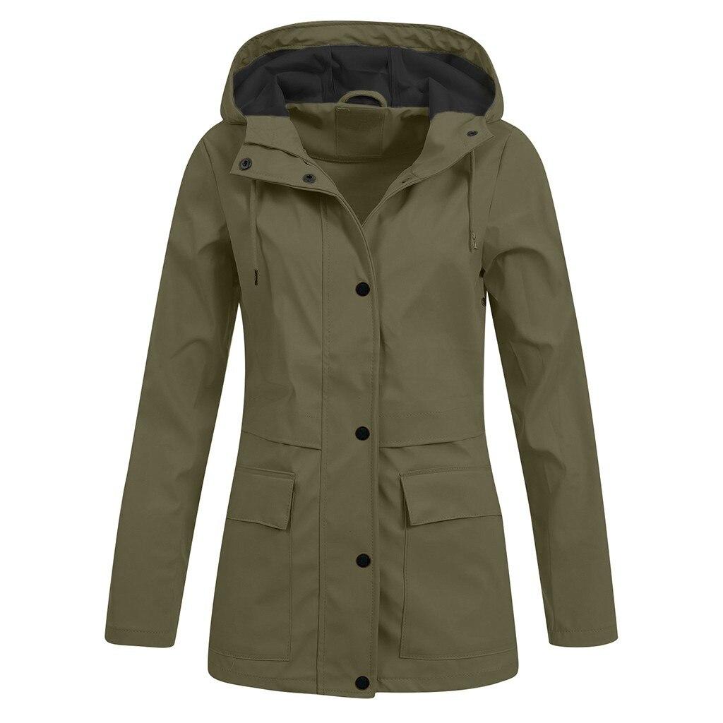 Casaco de chuva feminino grande, jaqueta feminina impermeável à prova de vento com capuz bolso zíper leve