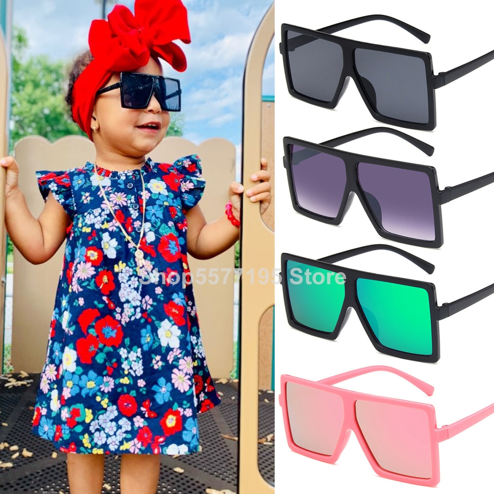 Oversize Square Kids Sunglasses Girls Baby Boys Festival Punk Sunglasses UV400 Glasses Children Ocul