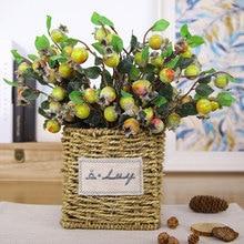 Artificial Hawthorn Fruit Branch Simulation Flower Red Apple Lemon Bunch Home Festival Party Decoration
