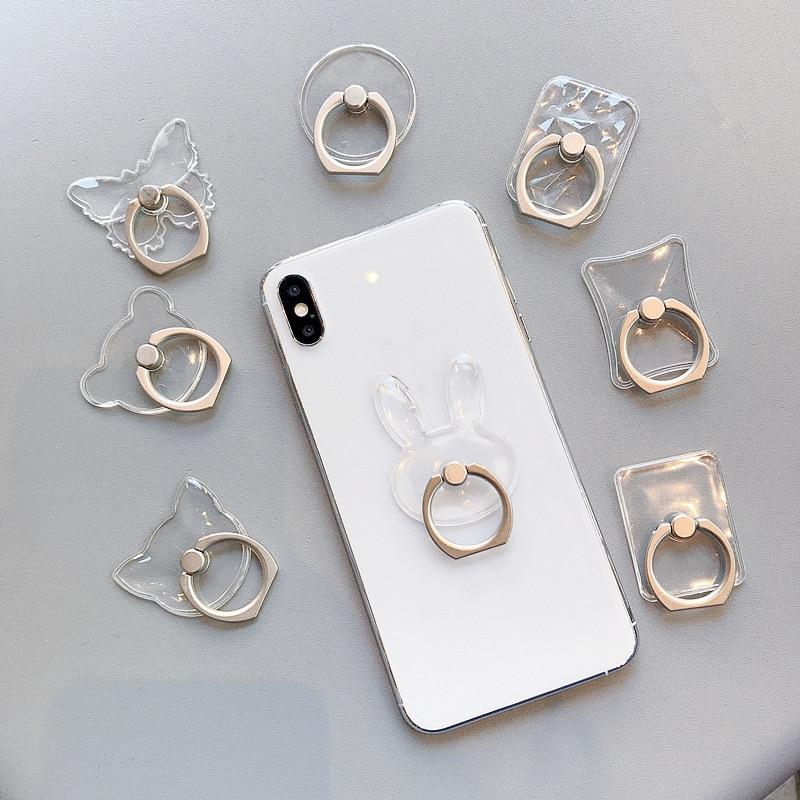Универсальный держатель для телефона, подставка, кольцо на палец, магнитное для симпатичного сотового смартфона, прозрачный держатель для ...